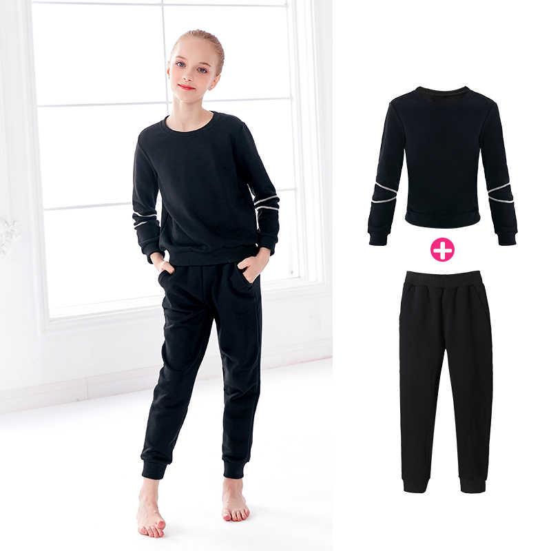 Mädchen Erwachsene Dance Anzüge Schwarz Dicken Ballet Warm Up Stretch Dance Tragen Gym Outfit Sport Anzüge Für Kinder