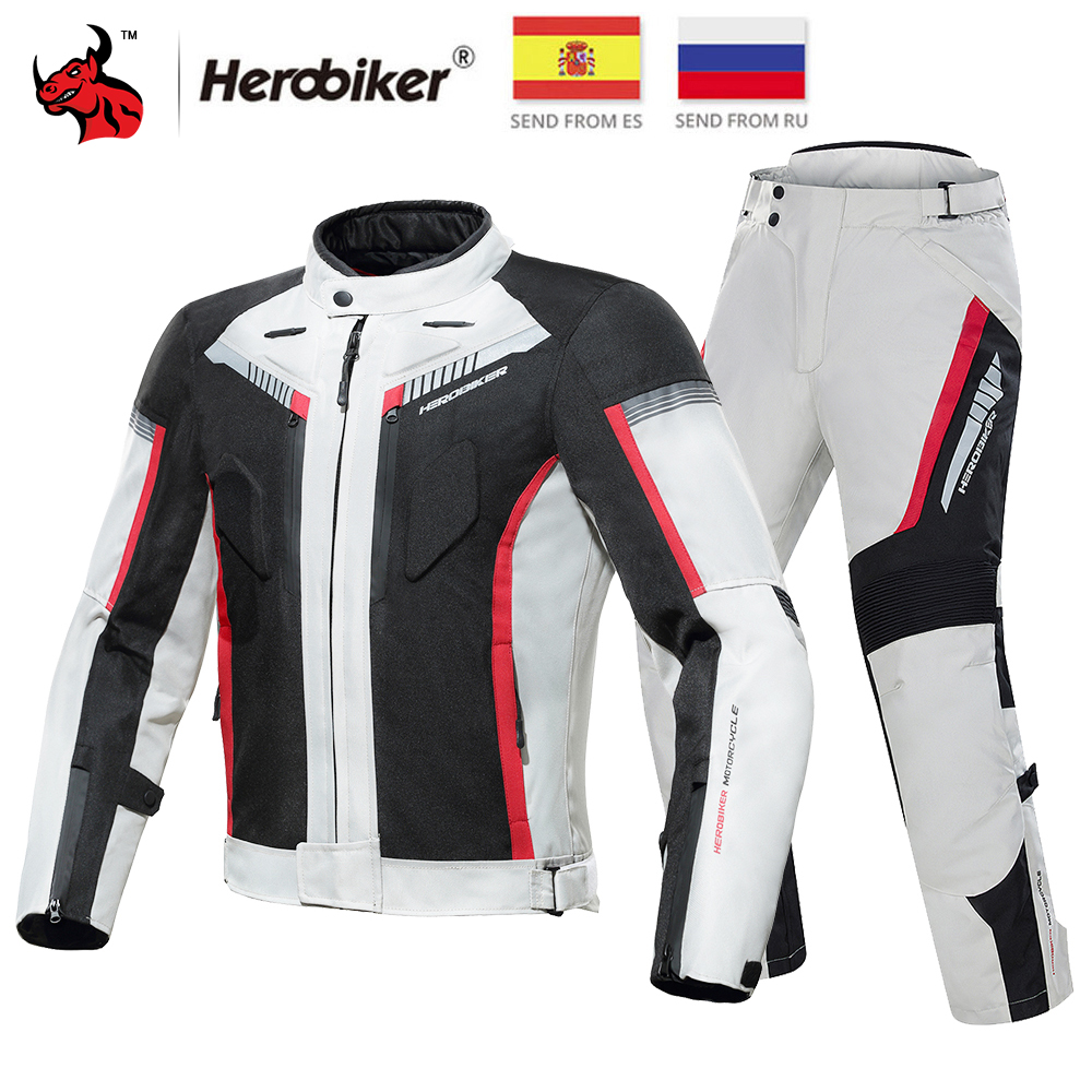 Cheap Price Herobiker Motorcycle Jacket Protective Gear Waterproof Moto Jacket Men's Motocross Clothing Motorcycle Suit With 5 Protector Elegant And Graceful