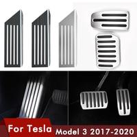 Pedal do carro almofadas capas para tesla model 3 acessórios de liga alumínio acelerador gás combustível freio resto pedal cobre carro model3|Pedais| |  -