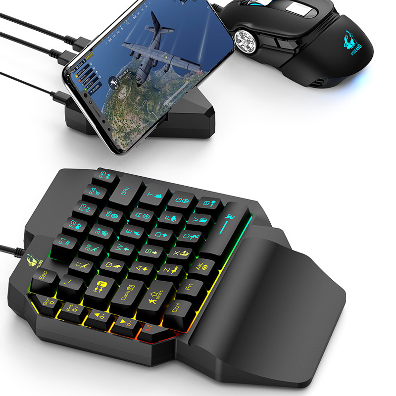 Mini Wired Gaming Keypad with LED Backlight 39 Key One-handed Mechanical Keyboard for Laptop Computer for PUBG Game Keyboard image