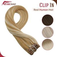 Moresoo Clip in Human Hair Extensions Hair Extension Machine Remy Highlight and Ombre Color 7Pieces 120g/pack Clips Natural Hair