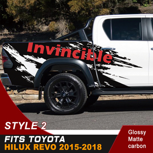 Image 4 - Car Decals Side Door Rear Trunk Mud Splash Graphic Vinyl Car Stickers Fit For TOYOTA HILUX Invincible 2015 2016 2017 2018 2019
