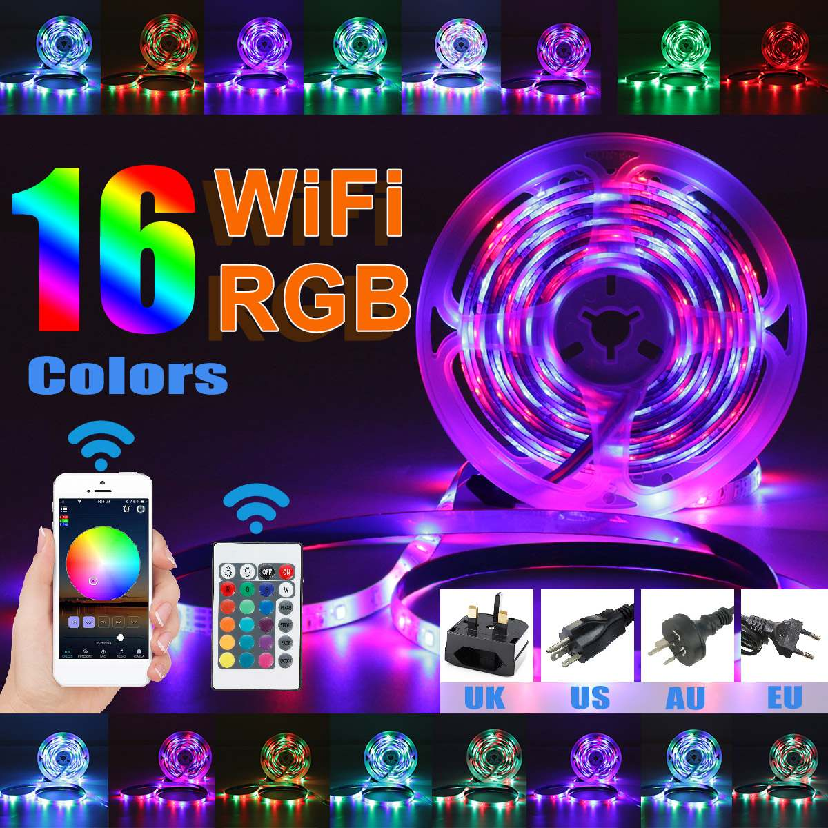 12V USB Led Strips Light 2835 LED SMD RGB with WIFI or Magic Home Pro App for TV Backlight ,Home Decor,Color Changing 16 colors