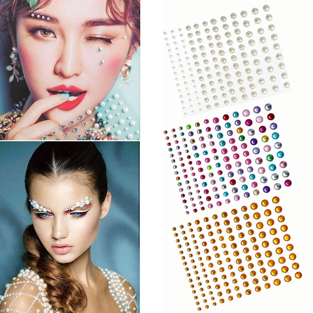 3D Single Grain with Glue DIY Eye Crystal Sticker Music Festival Trendy Shiny Acrylic Face Adhesive Acrylic Drill Tattoo Sticker