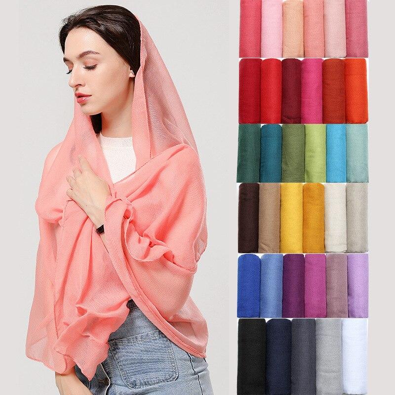 Cotton Headband Casual Solid Winter Scarves Women Thin Shawls And Wraps Foulard Bandana Femme Hijab Pashmina Echarpe 2020 New