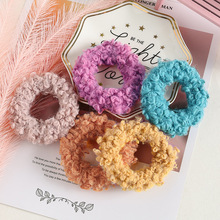 Autumn Winter Candy Color Elastic Hair Band For Women Girls Solid Lambs Wool Scrunchies Headbands Gum Accessories