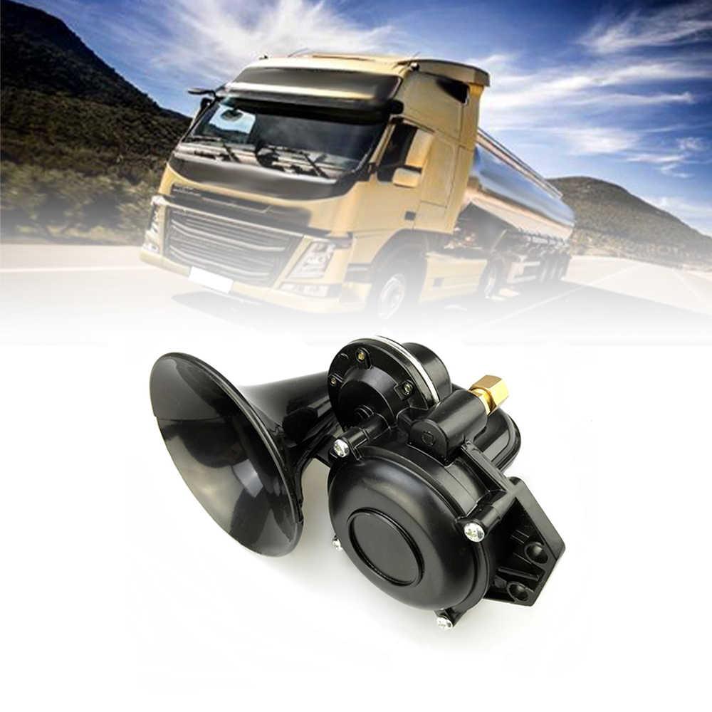 ユニバーサル 135db エアホーンクローム 12/24V スーパーラウドトランペットホーン電気バルブフラット用車の車両トラック