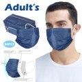 2020 50 шт. темно-синяя джинсовая маска с принтом, очищающая воздух маска для лица, трехслойная маска с фильтром для рта, фотолампа независимо о...