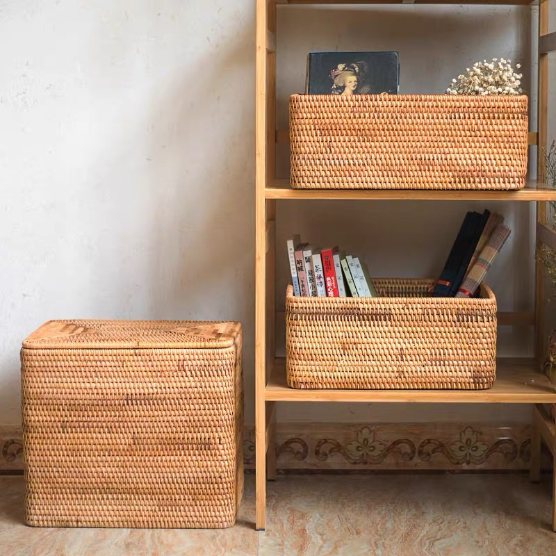 Image 3 - Laundry Basket Wicker Large with Cover Rattan Woven Rattan  Storage Basket with Lid for Dirty Clothes Toys Sundries Storage  Boxbasket with lidstorage basket with lidlaundry storage basket -