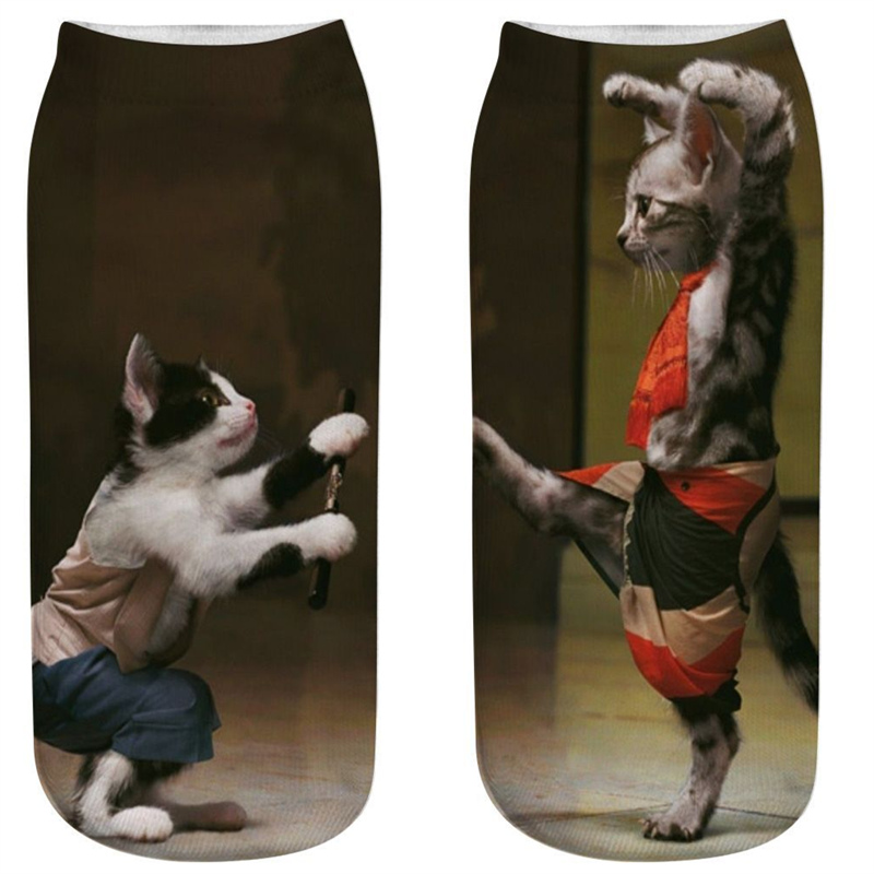 Funny 3D Printed Cosplay Cat Socks Fashion Unisex Cute Locomotive Cowboy Gentleman Boxing Character Cat Ankle Socks Calcetines