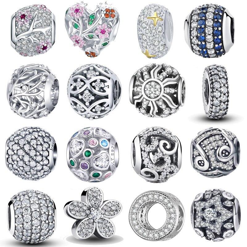 WOSTU Jewelry Pendants Bracelet Charm-Beads Gift CZ DIY 925-Sterling-Silver Dazzling