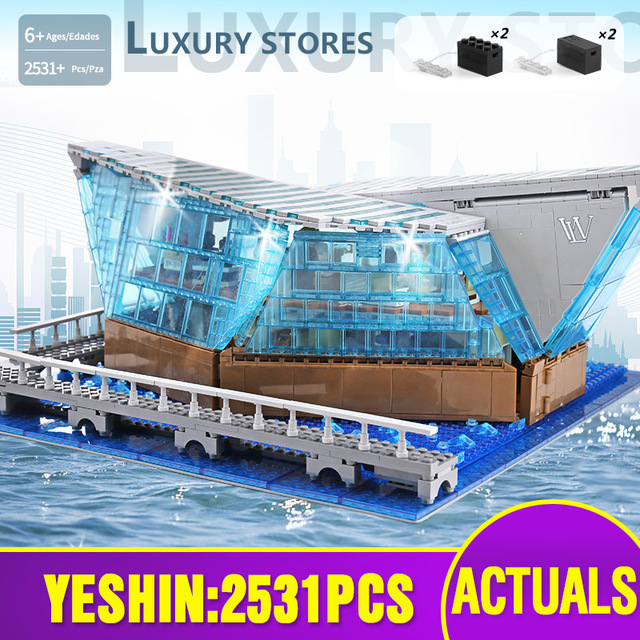 601099 MOC Architecture Building Block The Singapore Boutique Clothing Jewelry Store WIth Led Part Assembly Brick Kids Toys Gift