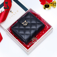 FOXER Brand Women Genuine Leather Short Wallet High Quality Multi function Card Holder Girls Wallets Fashion Female Purse