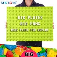 MKTOYS Duplos Base Plate 32*24 16*32 24*24 Studs for Big Size Blocks Marble Run Duplos Plate Building Block Brick Baseplate Gift