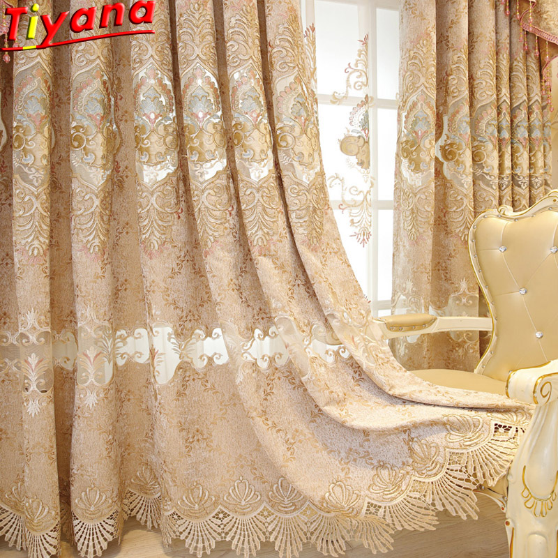 Luxury Embroidery Golden Screening Window Curtains Cloth Voile Tulles for Bedroom Drapes for Living Room Advanced Tulle WP232 40 in Curtains from Home Garden
