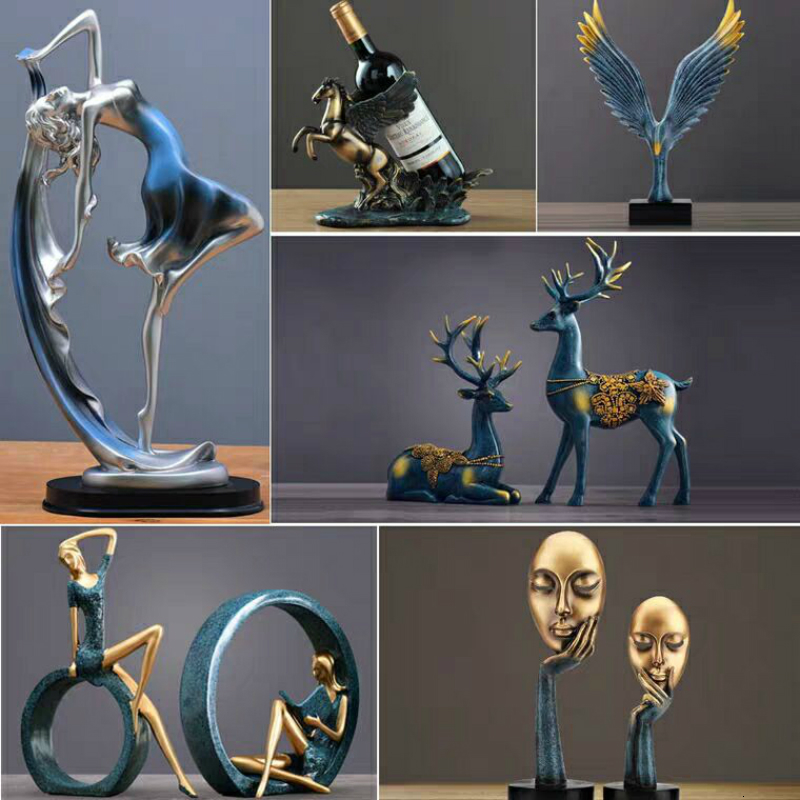 New Family Figurines Lovely Dancer Ornament Home Decoration Creative Animal Resin Crafts Desk Decoration Wedding Gift For Lovers