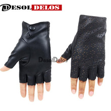 DesolDelos Ladies Fingerless Gloves Breathable Soft Leather for Dance Party Show Women Black Half Finger Mittens R006