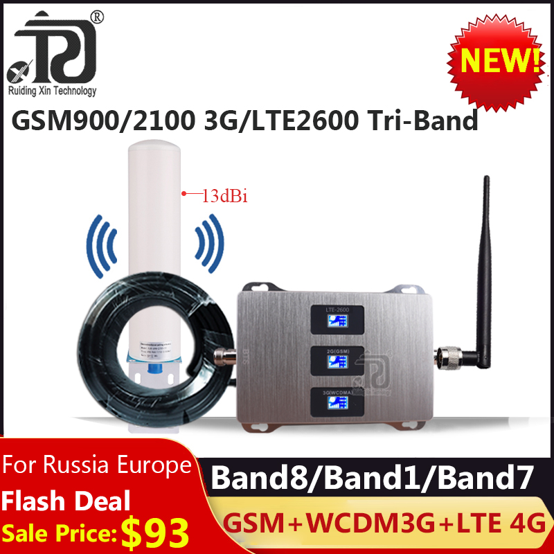 Russia Tri-Band 900/2100/2600mhz 4G Signal Booster  LTE WCDMA GSM Repeater 2g 3g 4g Cellular Amplifier 4G Mobile Signal Booster
