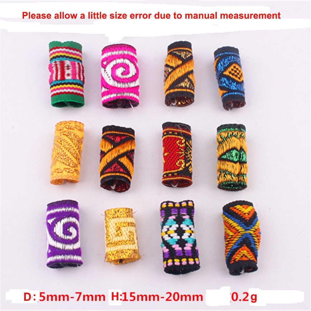5 stücke Bunte Mix Stoff Haar Braid Furcht Dreadlock Perlen Ringe Rohr Ca. 5-7mm Loch Größe