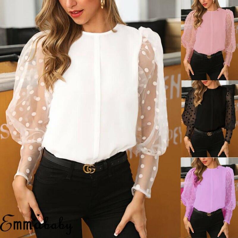 Women Fashion Sheer Long Sleeve Office Ladies Chiffon   Blouses     Shirt   Tops