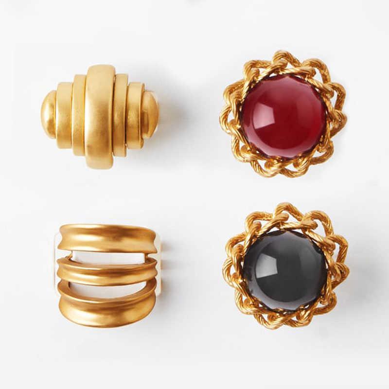 Best lady Newest ZA Jewelry Sets Gold Choker Necklace Resin Drop Earrings for Women Fashion Bi Open RIngs Wedding Charm Bracelet