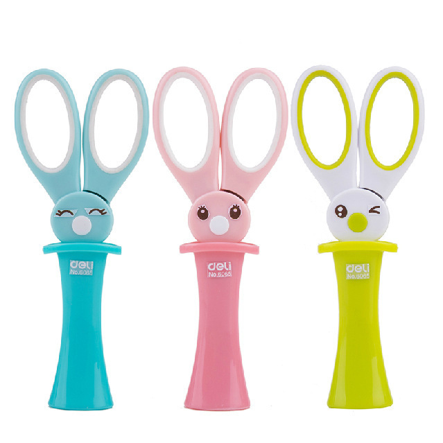 Cartoon Student Safety Paper Cutting Art Scissors With Protective Cover Office Supplies School Supplies Children Stationery