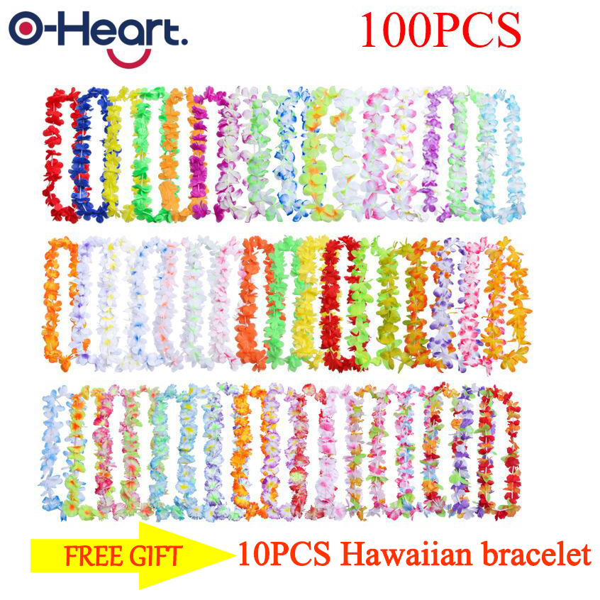 100/50pcs Hawaii Garland Wedding Artificial Leis Flower Necklace Fancy Dress Party Beach Fun Birthday Party Decoration image