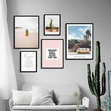 Настенная картина для пейзажа розовый кактус скандинавский постер