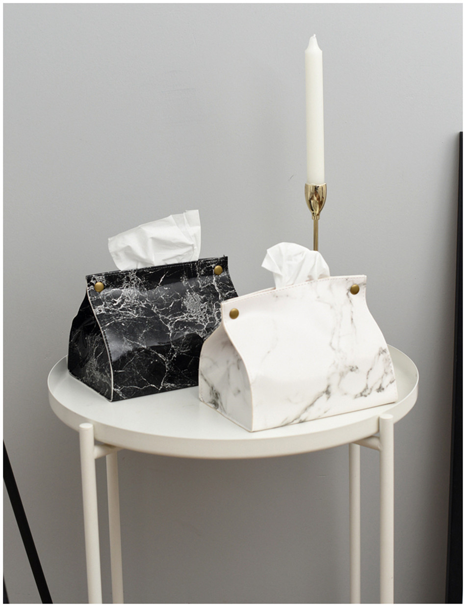 Tissue Case Box Container PU Leather Marble Pattern Towel Pumping Container