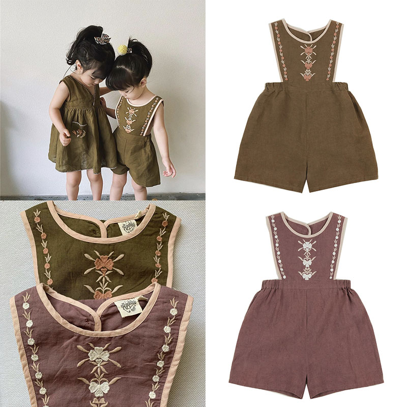 EnkeliBB APO Toddler Girl Stylish Jumpsuit Summer Sleeveless Jumpsuits Cotton And Linen Vintage Style Embroidery Jumpsuit