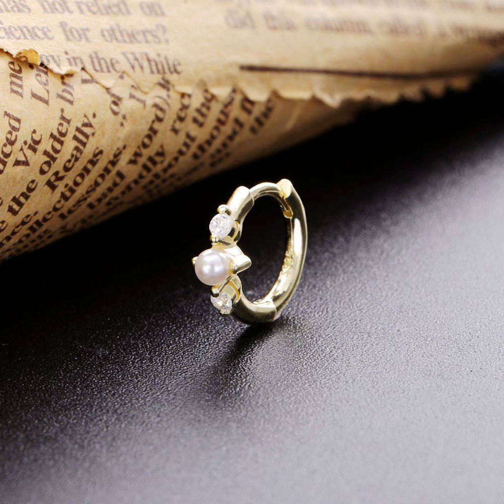 Slovecabin 2019 New Single Huggies Clips Crystal Pearl Hoop Earring 925 Sterling Silver Gold Opals Loop Circle Women Jewelry
