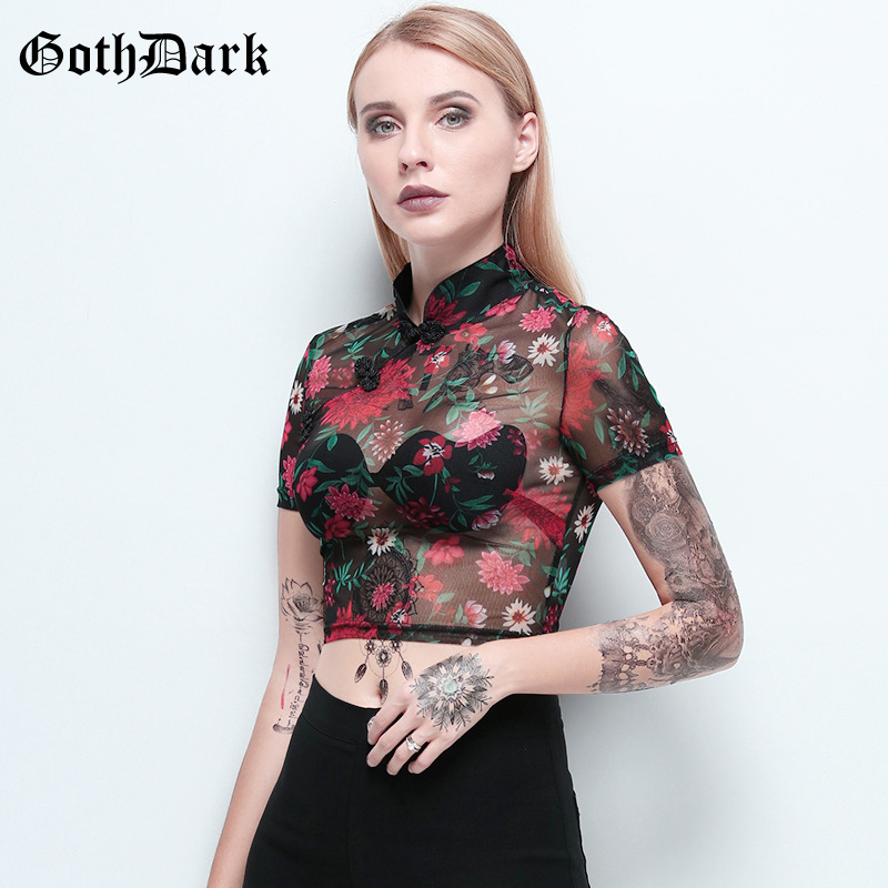 Goth Dark Vintage Aesthetic Gothic Women's Tshirts Harajuku Transparent Floral Summer 2020 T-shirts Mesh Emo Y2K Skinny Cropped