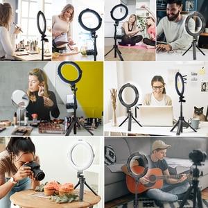 Image 5 - VIJIM 8 pollici 20cm Selfie Ring Light con treppiede supporto per telefono anello lampada scrivania LED Ringlight per Youtube Vlog Makeup