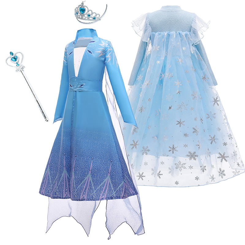 Girls Princess Elsa Dress Children Cosplay Snow Queen 2 Costume Wig Kids Festival Holiday Carnival Birthday Party Clothing