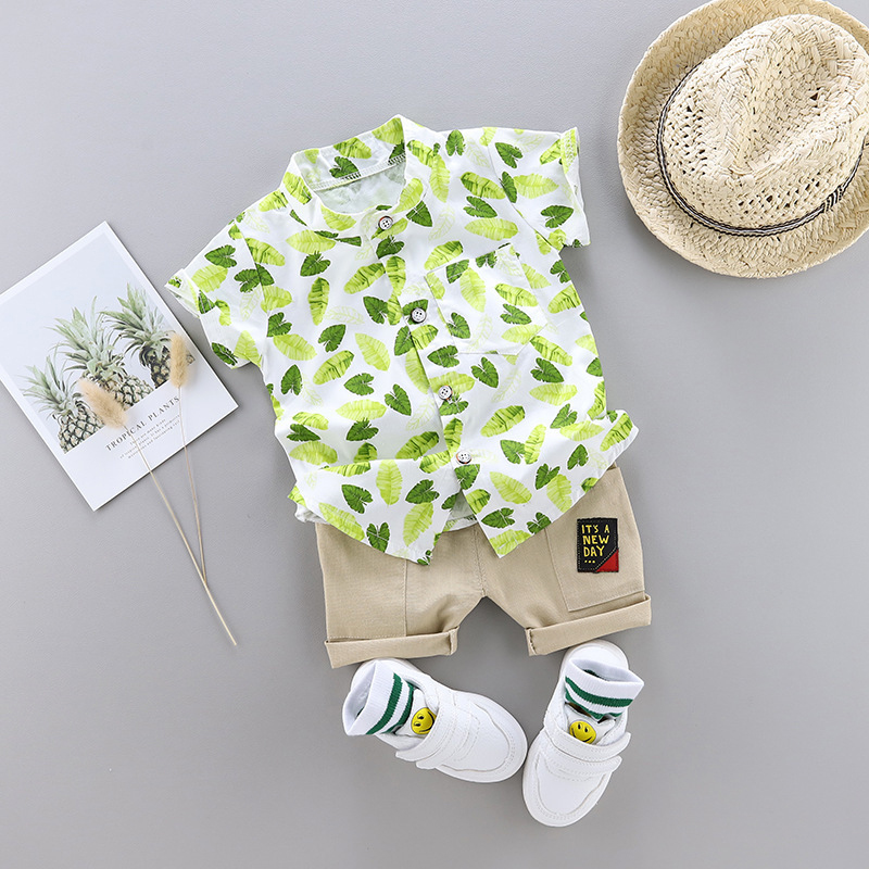 Kids clothes Summer leaves Print Cartoon Short Sleeve children clothes Shirt + Pants for Toddler Baby Boys Clothes Boy Kids