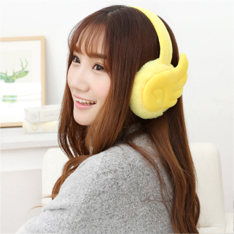 Wings Plush Earmuffs Women New Fashion Japanese Style Pure Color Cartoon Cute Autumn Winter Warm High Quality Thicken Earmuffs