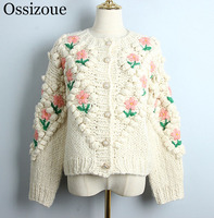 Sweet 2020 Women Autumn Winter Short Cardigan Female Handmade O neck Coat Korean Floral Casual Knitted Loose Fashion Outwear