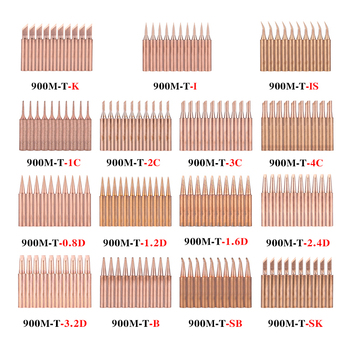 10Pcs/lot Pure Copper 900M-T Soldering Tip 900M-T-K 900M-T-I 900M-T-3.2D Iron for 936 938 852D+ Station - discount item  30% OFF Welding & Soldering Supplies