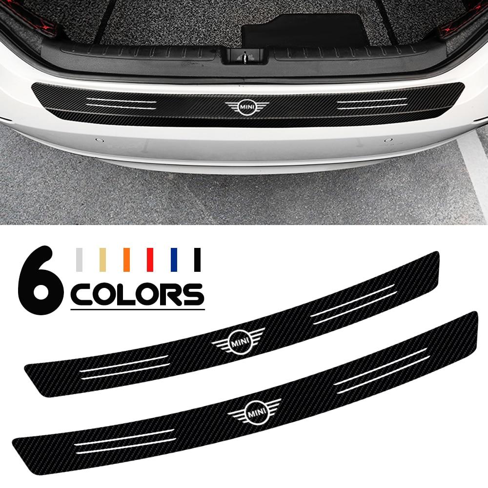Car Carbon Fiber Trunk Rear Bumper Protector Sticker For BMW MINI Cooper One S R50 R53 R56 R60 F55 F56 R58 R59 Accessories