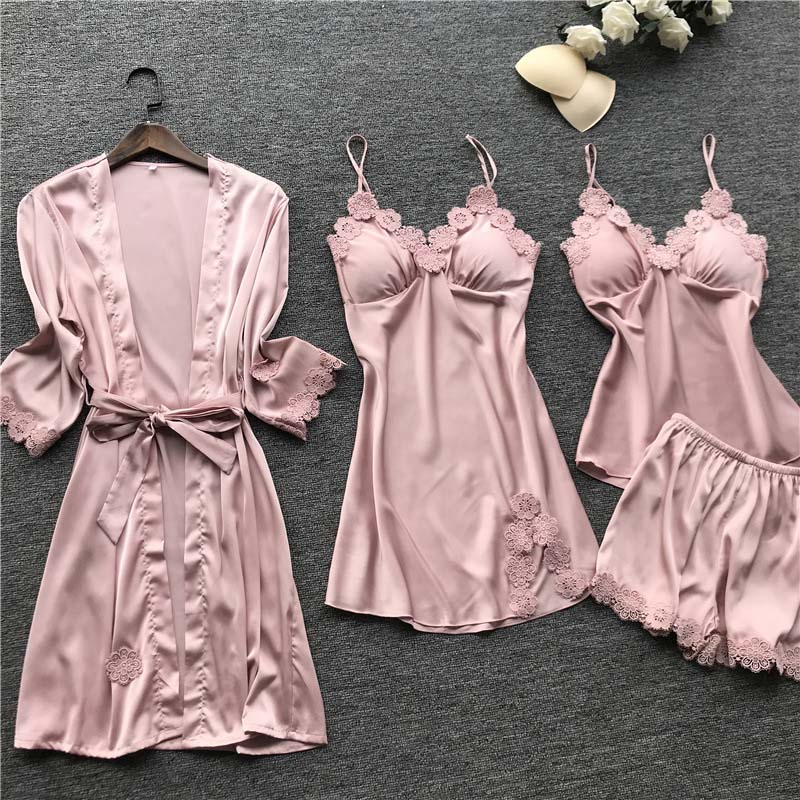 Autumn New Fashion 4 Pieces Pajamas For Women Satin Silk Pajamas Sets Lace Sexy Robe Gown Set Femme Sexy Pijama With Chest Pad