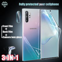 Front Back Hydrogel Film Voor Samsung Galaxy Note 10 Plus 8 9 Screen Protector Samsung S10 S9 S8 S20 Plus ultra Camera Lens Glas