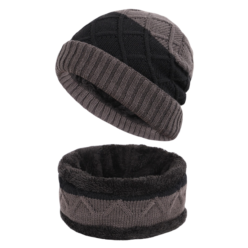Beanie Winter Hat Scarf Set Slouchy  Neck Knitting Warmer Plush Velvet Lined Hat & Scarf Set