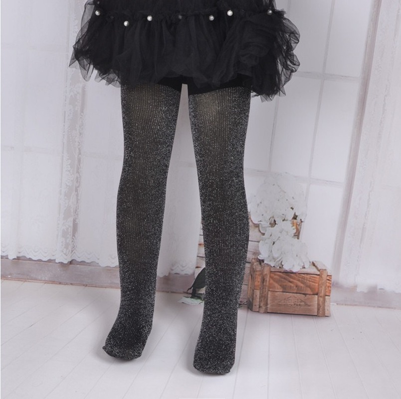 New Arrivals Baby Girls 0-12 Years Silver Thread Glitter Velvet Baby Tights Kids Girls Pantyhose Ballet Stockings Spring Autumn