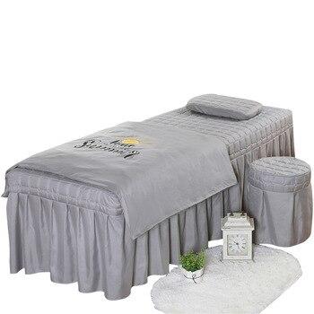 4pcs High Quality Beauty Salon Bedding Set Thick Bed Linens Sheets Bedspread Fumigation Massage Spa Pillowcase Duvet Cover Sets