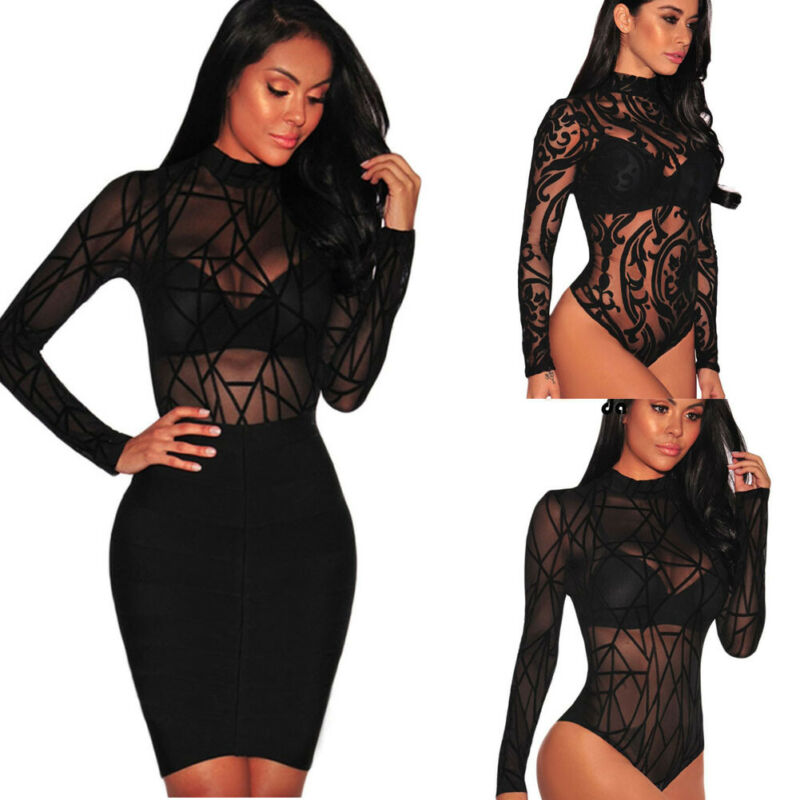 Women Sexy Sheer Mesh Lace Jumpsuit Long Sleeve Top Turtleneck Bodysuit USA