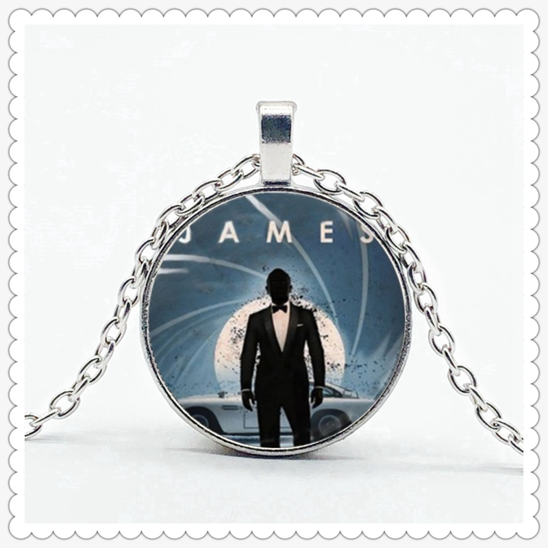 Film James Bond 007 pattern Necklace high quality convex glass pendant round item men's and women's accessories