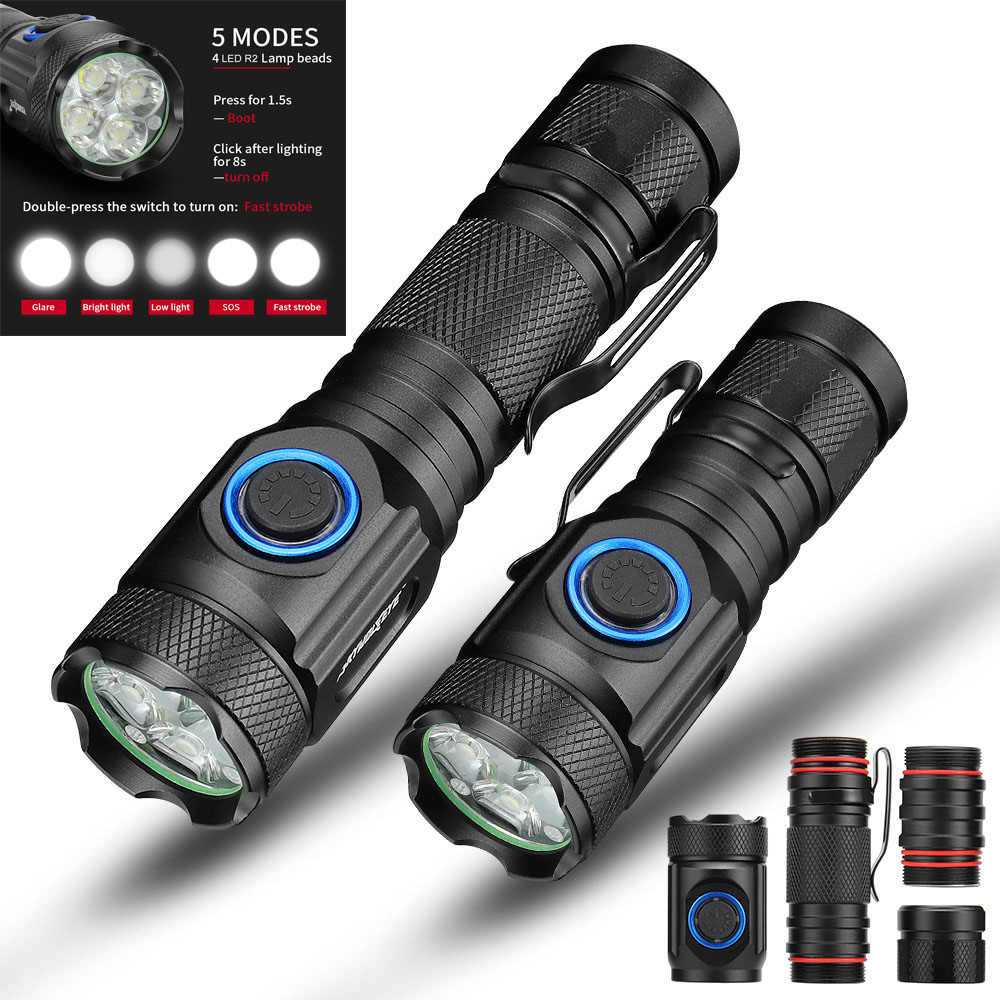 80000LM Powerful Mini Tactical Led Flashlight Usb Cree XML-R2 Led Torch Waterproof 16340 Or 18650 Battery USB  Rechargeable
