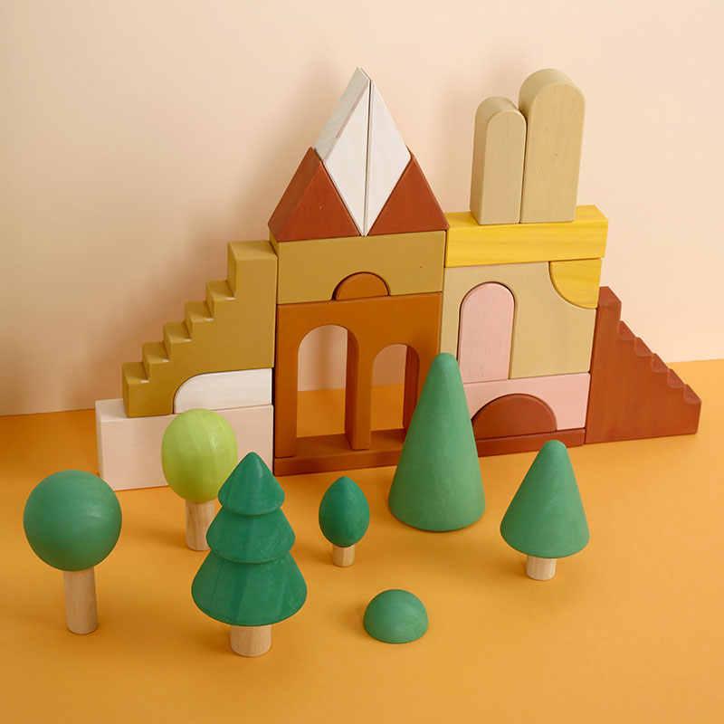 Montessori Rainbow Building Blockการศึกษาไม้ของเล่นRainbow Forestปราสาทหุ่นสร้างสรรค์ปริศนาการศึกษาของเล่นเด็ก