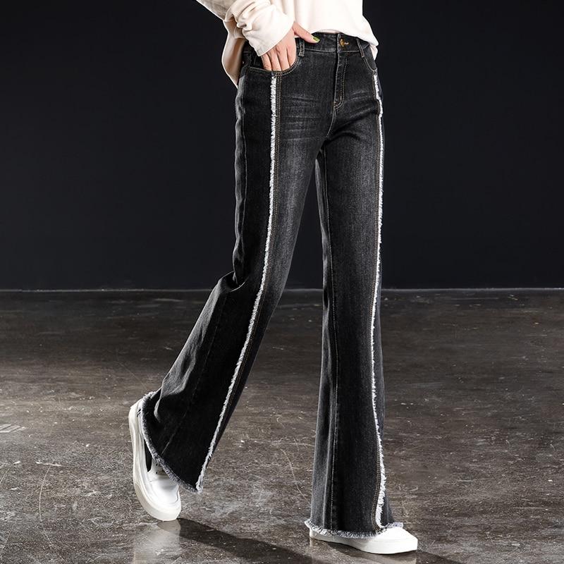 Women Flared Wide Leg Jeans Stripe Fringe High Waist Full Length Denim Fashionable Pants Plus Size Vaqueros Pantalones Mujer