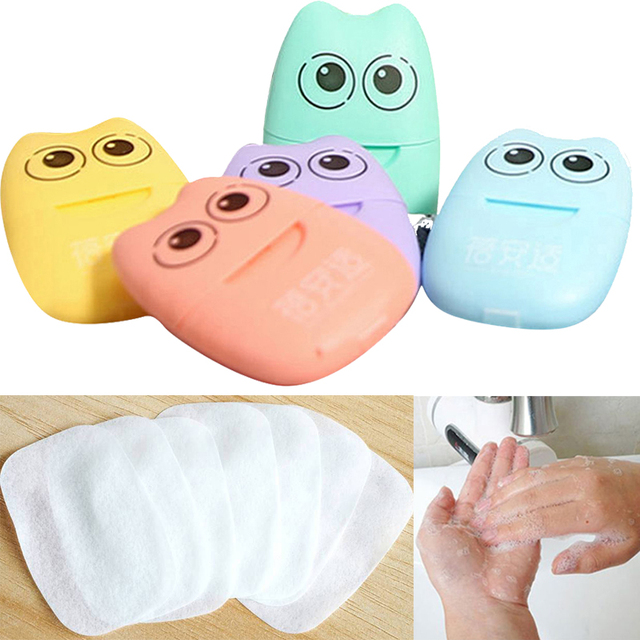 High Quality 20pcs/box Disposable Paper Soap Travel Portable Hand Washing Box Scented Slice Sheets Soap Paper Foaming Soap Flake